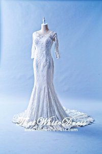 405WL03 Long Sleeves straight neck lace Plus Size Wedding Dress Designer Malaysia