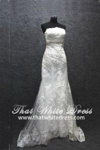 Silver - wedding gown 1405WL007 Tube Trumpet Lace Highwaist
