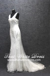 Silver - wedding gown 1405WL008 Strapless Chiffon Strap Trumpet Plus Size