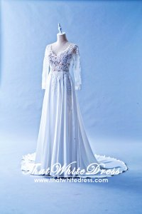 608LL05 LL Lilian Long Sleeves Berta Bride Silk Chiffon Wedding Dress Designer Malaysia
