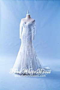 608LL07 LL Illusion neckline Zip back Trumpet Wedding Dress Designer Malaysia