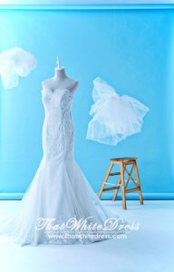 611LLWL01 LL Plus off shoulder trumpet Yahsodah Wedding Dress Malaysia Rental Custom