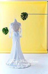 408W06 LL Berta Long sleeves Lace silk satin skirt sheath back Wedding Dresss Malaysia Baju Pengantin KL