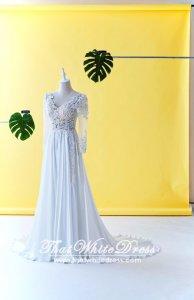 608LL05 LL Lilian Long Sleeves Berta Bride Silk Chiffon Wedding Dresss Malaysia Baju Pengantin KL