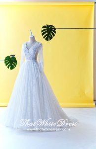 610LLW03 LL Long Sleeves V neck low back Cassandra Wedding Dresss Malaysia Baju Pengantin KL