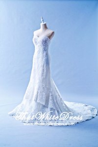 401W003 Trumpet Lace Heart Shape Tube Double Tier Wedding Dress Designer Malaysia