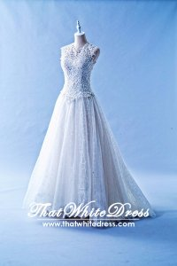 401W016 Princess A Line Korean Illusioned Lace Neckline Wedding Dress Designer Malaysia