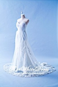 401W021 MR Pleated top Trumpet Sheer Lace Wedding Dress Designer Malaysia