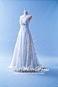 401W022 MR A Line Lace Long Waist Crystal Bust Wedding Dress Designer Malaysia