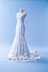 401W004 Trumpet French Lace Straight Tube single tier Wedding Dress Designer Malaysia