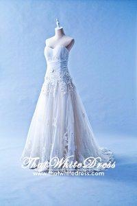 405WL02CS CS A Line pleated Heart Lace Wedding Dress Designer Malaysia