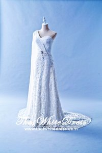 408W03 LL One Shoulder 3D French Lace Grecian Wedding Dress Designer Malaysia