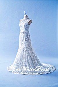 401W012 HH Trumpet Oriental sheer lace back Wedding Dress Designer Malaysia