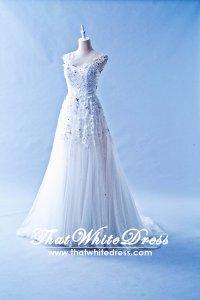 408W07 LL Illusioned neckline Princess Cap Wedding Dress Designer Malaysia