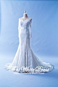 408W15 MM Off Shoulder Long Sleeves  Wedding Dress Designer Malaysia