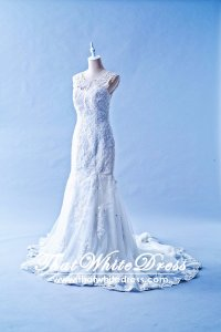 412W03 MM Strap Trumpet Tieback Illusion cover back Wedding Dress Designer Malaysia
