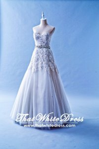 412W11 XJ A line Silver Alencon Lace Top Wedding Dress Designer Malaysia