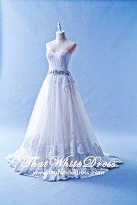 502W09 XJ Princess A Line 2 layer Lace Train Crystal Belt Wedding Dress Designer Malaysia