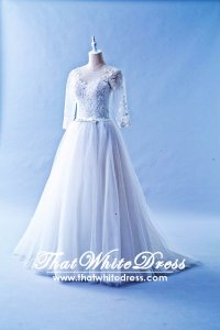 508QQ05 QQ Long Seleves Princess Wedding Dress Designer Malaysia