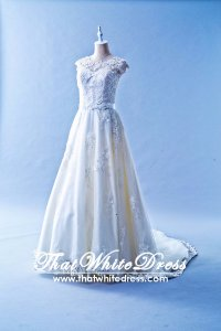 508WL02 TY WL Boat Neck Illusion Neckline A line Lace Wedding Dress Designer Malaysia