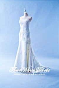 601W02 SG Straight Tube A line lace Wedding Dress Designer Malaysia