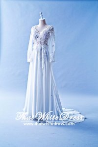 601W04 AD Long Sleeves Chiffon Deep V Wedding Dress Designer Malaysia