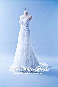 601W07 JM Tube Illusion Train Trumpet Wedding Dress Designer Malaysia