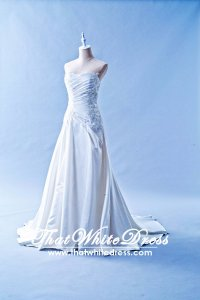 603CS01 CS Sweet Heart Pleated Satin A line Shalini Wedding Dress Designer Malaysia