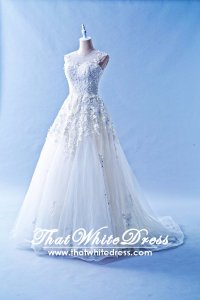 603CS03 CS Illusion Neckline Princess Shien Wedding Dress Designer Malaysia