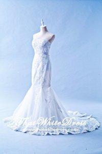 412W04 MM Tube Trumpet Sheer panel Wedding Dress Designer Malaysia
