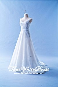 412W14 XJ Off shoulder A line sequins Wedding Dress Designer Malaysia
