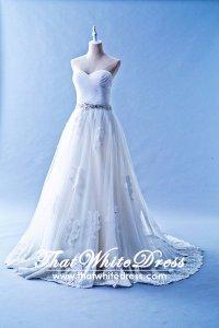 502W10 XJ Pleated Sweet Heart Lace Train A Line Wedding Dress Designer Malaysia