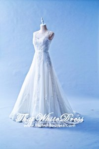 502W13 XJ Illusion Neck Cap Sleeves Lace Train A line Wedding Dress Designer Malaysia