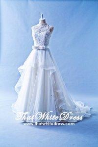 502W23 XJ High Neck Princess Ruffle Wedding Dress Designer Malaysia