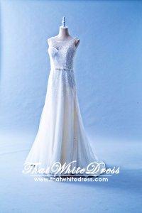 502WL01 XJ Sequins Flow Sleeves A line Plus Wedding Dress Designer Malaysia