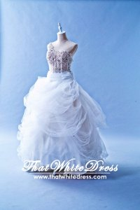 503W03 IS One Shoulder Illusion Bodice Princess Wedding Dress Designer Malaysia