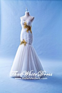 506W02a LL Ben's Sweet Heart pleated Gold embrodeiry Wedding Dress Designer Malaysia