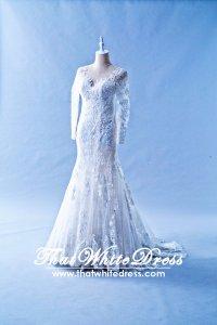608LL07 LL Illusion neckline Zip back Trumpet Wedding Dress Designer Malaysia