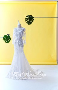 71LLW02 LL Long Sleeves Geometry Trumpet Low V back Wedding Dresss Malaysia Baju Pengantin KL