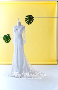 71LLW04 LL Long Sleeves Guipure lace Plain Train Button back Wedding Dresss Malaysia Baju Pengantin KL