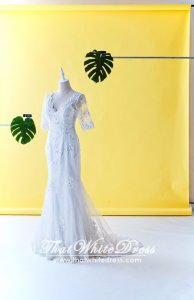 405W002 Mermaid Trumpet Quarter Long Lace Sleeves Wedding Dresss Malaysia Baju Pengantin KL