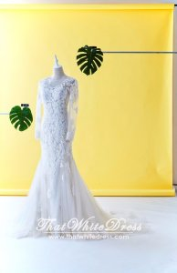 505W03 LL Long sleeves  Alencon lace Trumpet Beaded Hawa Wedding Dresss Malaysia Baju Pengantin KL