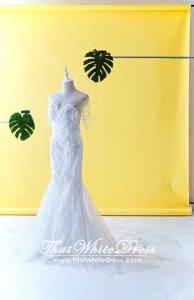 506W03 LL Quarter Sleeves Trumpet back zip Wedding Dresss Malaysia Baju Pengantin KL